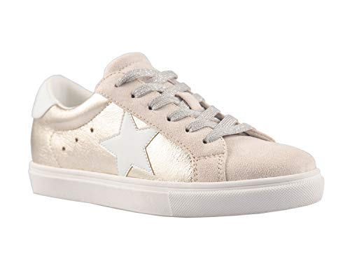 PARTY Women's Fashion Star Sneaker Lace Up Low Top Comfortable Cushioned Walking Shoes, Dale-Gold Met-8.5