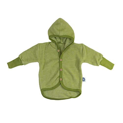 Cosilana Baby Woll-Fleece Jäckchen mit Kapuze kbT Wolle Bio Baumwolle (86-92, Lindgrün-Melange)