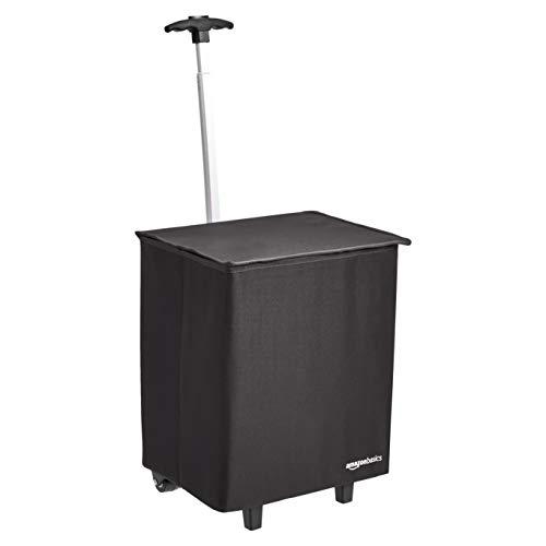 AmazonBasics leichter, klappbarer Einkaufstrolley, 96,5 cm Griffhöhe, Schwarz