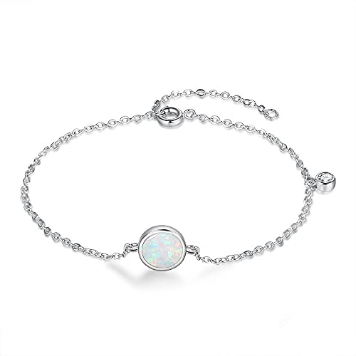 Pulsera de plata de ley 925 con forma redonda de ópalo sintético para mujer, joyería hipoalergénica