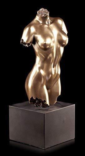 Edle Weibliche Akt Figur - Torso auf schwarzem Monolith | Veronese Statue Bronze-Optik