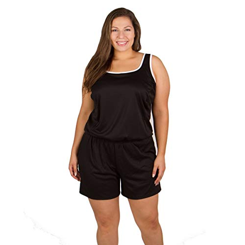 Plus Size Chlorine Resistant Swimsuits - Polyester Two Piece with Shorts Black Size 28