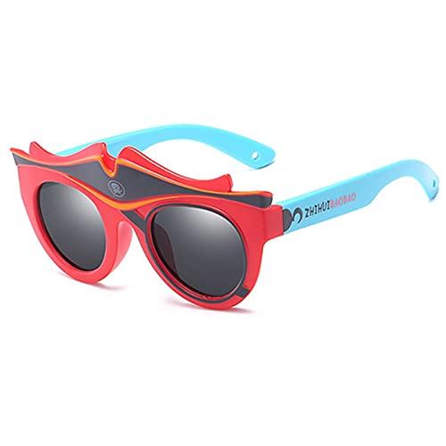 FDNFG Moda para niños Gafas de Sol polarizadas de Dibujos Animados Sun Glasses Boys & Ampgirls Apto para niños de 3 a 10 Marco de Silicona Gafas de Sol (Lenses Color : C4)