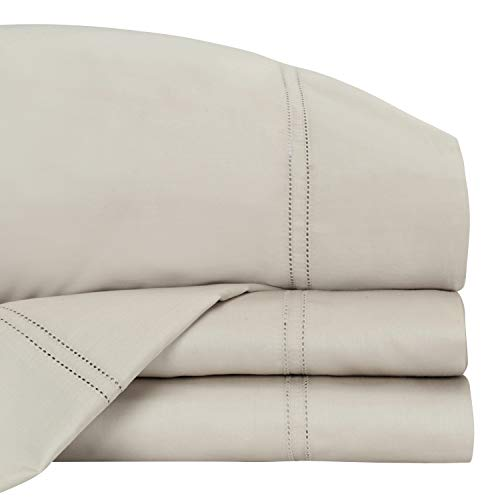 Royal Borough Luxury 400 Thread Count 100% GOTS Certified Organic Cotton Sheet Set, Beige Queen Size Best Sheets - 4 Piece Set, Fair Trade Certified, Cotton Bed Sheets, Soft & Silky Sateen Weave