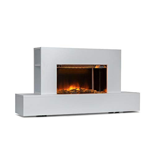 KLARSTEIN Heat 'n Beat - Chimenea eléctrica, Potencia 900/1800 W, para Salas de hasta 36 m², Altavoces con Bluetooth, Puerto de Carga USB, Llamas LED 3D, Mando a Distancia, Madera Decorativa, Blanco