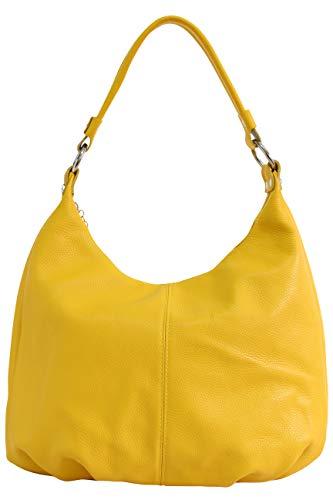 AMBRA Moda Damen Handtasche Echtleder Beutel Schultertasche Hobo Bags Shopper DIN-A4 GL001 (Gelb)
