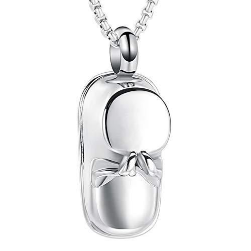 Liart Collar de urna de cremación para Cenizas, Acero Inoxidable Zapato de bebé Memorial Joyería Colgante