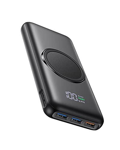 Charmast Wireless Powerbank 20000mAh Externer Akku Kabellose Ladegerät Drahtloses 22.5W Power Bank 20W PD 3.0 USB C 2 Eingängen und 4 Ausgängen Kompatibel mit iPhone 12/11/X/XS/XR Samsung mehr