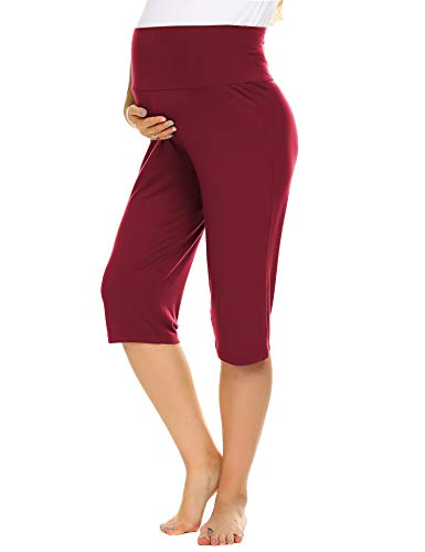 Ekouaer Women's Pregnancy Capris Pants Pajamas Pants Cotton Shorts Loungewear Wine Red