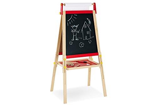 Pinolino Pablo-bord van massief hout, zonder gereedschap in hoogte verstelbaar, met tafel- en whiteboard-zijde, incl. schilderpapierrol, voor kinderen vanaf 3 jaar