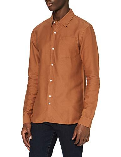 Amazon-Marke: find. Herren Hemd mit Feinripp, Rot (Rust), XXL, Label: XXL