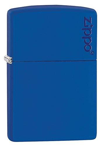 Zippo Feuerzeug 60001621 Brushed Chrome Emblem Attached Benzinfeuerzeug, Messing, royal Blue Matte, 1 x 3,5 x 5,5 cm