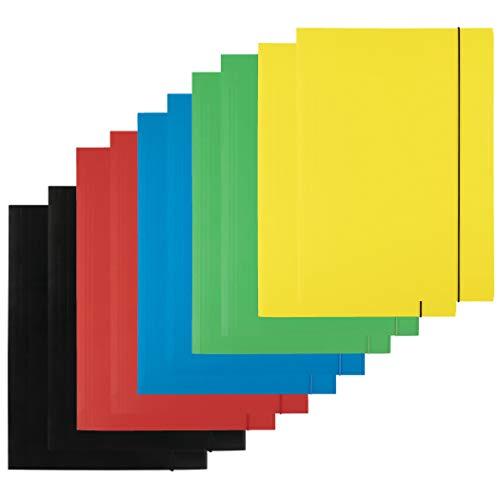 D.RECT 10 pezzi (2 pezzi per colore 5 x 2) cartellina in cartone | Cartellina con gomma | Cartellina con elastico per DIN A4 | 3 alette, 300 g, colori assortiti