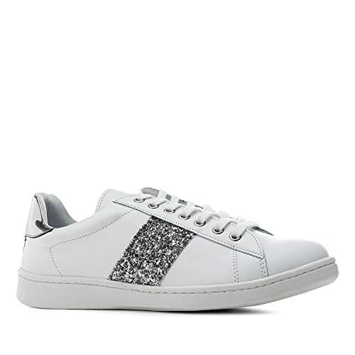 Andres Machado - Zapatillas Deportivas para Mujer - Chicas - Trainers - Sneakers - Aitana - en Cuero Blanco - con Diferentes Detalles de Glitter en Distintos Colores. Tallas Grandes EU 42 a 45.