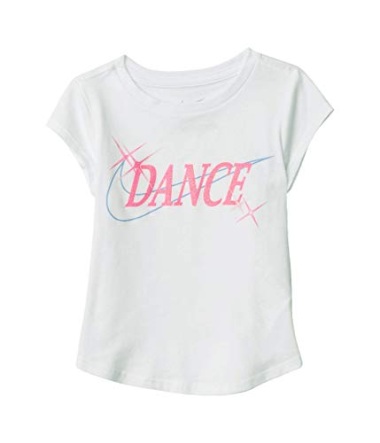 Nike Kids Baby Girl's Short Sleeve Dance Graphic T-Shirt (Toddler) White 4T Toddler