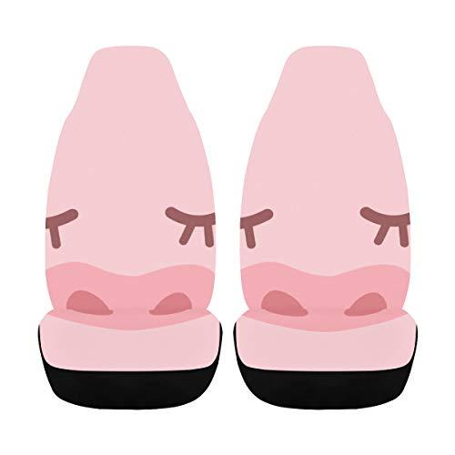Funda para silla de coche de dibujos animados divertido rosa nariz de cerdo funda para silla de coche 2 piezas Universal Fit Airbag compatible para coche Suv Auto camión fundas de asiento de b