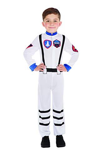 Bristol Novelty CF201 Astronaut Kostüm, Unisex-Kinder, Weiß/Blau, L