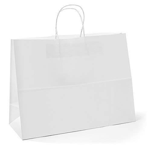 Switory Bolsas de regalo de papel Kraft blanco de 50 piezas, 40,6 x 15 x 30,5cm con asas resistentes blanco para compras, manualidades comestibles, fiestas, negocios, bodas, mercancías, boutique