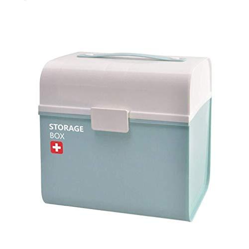 MXK ABS Medizinschrank Aufbewahrungsbox Für Medikamente Erste-Hilfe-Kasten Für Den Haushalt Multifunktionale Medikamentenkiste Groß 21x25x24cm (Color : Blue)