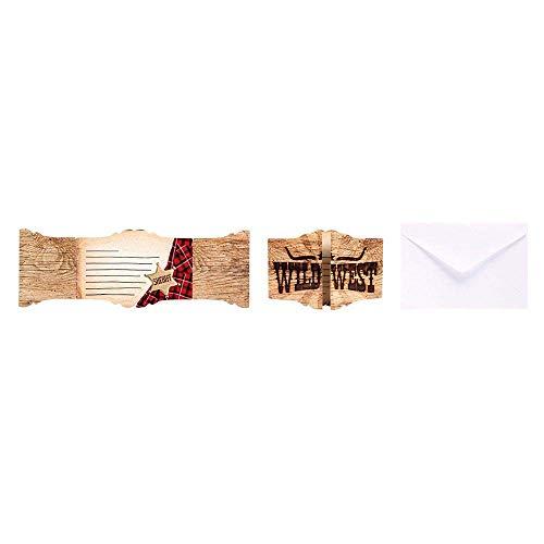 Boland 54363 - uitnodigingskaarten met enveloppen, Wild West, 6 stuks, vouwkaarten, invitation, Cowboy, verjaardag, themafeest, carnaval