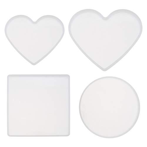 4 moldes de resina de silicona para posavasos, marcos de fot