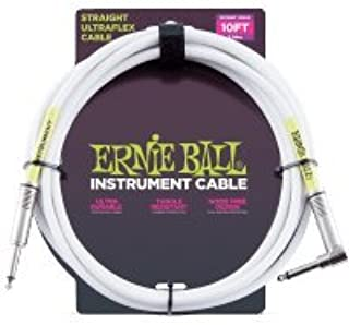 Ernie Ball Instrument Cable Straight/Angle White Jacket P06049 10FT. w/Bonus RIS Picks (x3) 749699160496