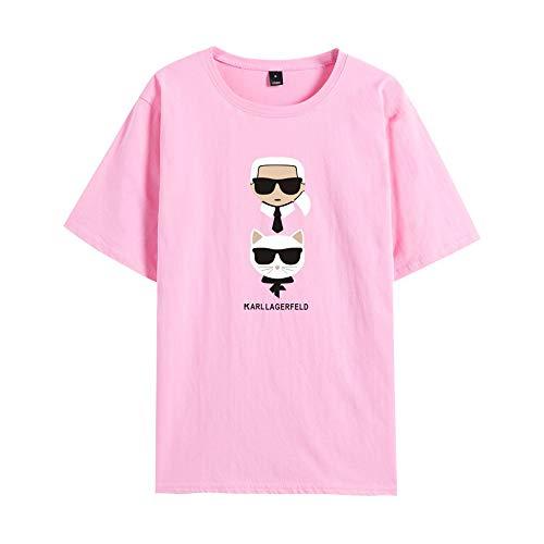 GIJK Ronde hals T-shirt met korte mouwen Karl Lagerfeld Creatieve Vrije tijd Stijlvolle Trui Karakter Letter 3D Print Jeugd Mode Sport 2XS-4XL voor Unisex Zomer Trui