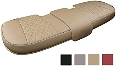 Black Panther Luxury PU Leather Rear Bench Car Seat Cover Adjustable Length (50-55'') Fits 90% Standard 5 Seats (Sedan SUV), for Seat Bottom Only, Triangle Quilting Design, Beige