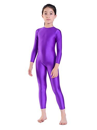 Aoylisey Girls' Full Body Long Sleeve Unitard One Piece Gymnastics Dance Bodysuits for Kids (Purple, M/6X-7)