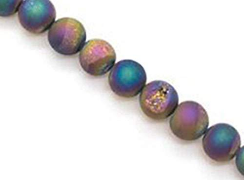 Stone Beads, redondas de 10mm, 6 uds, cuentas minerales checas de natural ornamentales semipreciosas piedras con uno orificio, Rainbow Quartz