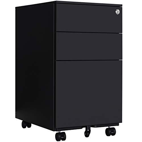 Aktenschränke,Schrankkorpus Vormontiert, Rollcontainer Büro-Rollcontainer mit Anti-umkippen-mechanismus, Bürocontainer mit 3 Schublade für A4, 50cm L x 39cm B x 60cm H,JLB020-S