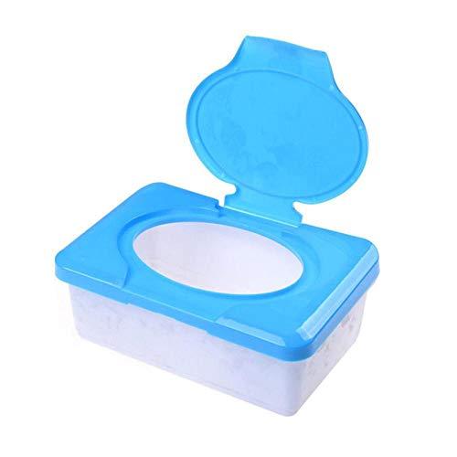 AXUHENGO Caja dispensadora de Papel tisú seco y húmedo Toallitas portátiles de plástico para bebés Servilleta Prensa Estuche para pañuelos Contenedor Azul