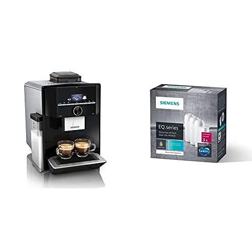 Siemens EQ.9 s300 Kaffeevollautomat TI923509DE, automatische Reinigung, 1.500 Watt, hochglanz schwarz, edelstahl & TZ70033 Brita Intenza Wasserfilter, reduziert Kalkgehalt im Wasser, 3 Stück, weiß