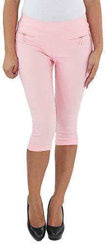Sotala Damen Leggings Jeggings Treggings Stretch Hüft Capri 3/4 Shorts Bermuda Skinny Slim Fit Sommer Hose Rosa XXL/44