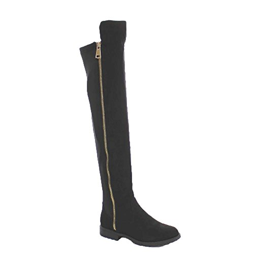 BAMBOO Monterey-05 Women's Stretch Back Side Zipper Low Heel Over The Knee Boots,Black Suede,8.5