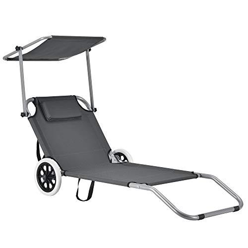 casa.pro Sonnenliege mit Sonnendach und Rollen Gartenliege Strandliege Liegestuhl Verstellbar Anthrazitgrau
