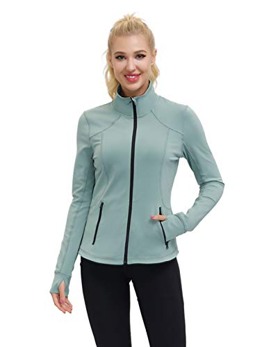 Dolcevida Women's Slim Fit Workout Track Jackets Full Zip Stretchy Warm up Active Running Jacket with Thumb Holes (Chinois Green, M)