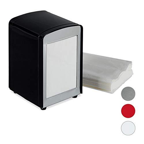 Relaxdays Serviettenspender Retro, Metall, kleine Serviettenhalter für Eisdiele, Café, Bistro, HBT: 15x9,5x11, schwarz