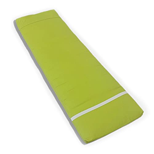 Tesosy Cojín Tumbona Verde Liso 180 x 55 x 8 cm, Colchoneta para Tumbona, Colchón Tumbona Acolchada, Cojín para Tumbonas de Exterior para Jardin y Playa