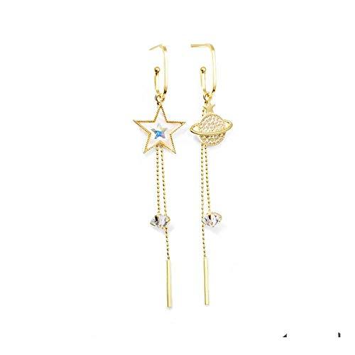Beni925 Silver Needle Pentagram Earth Tassel Asymmetric Earrings New Temperament Long Style