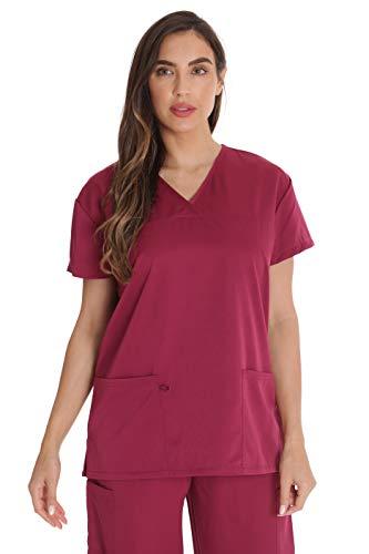 Just Love Solides Stretch-Top für Damen, Mock Wrap Still-Shirt. - Pink - 2X