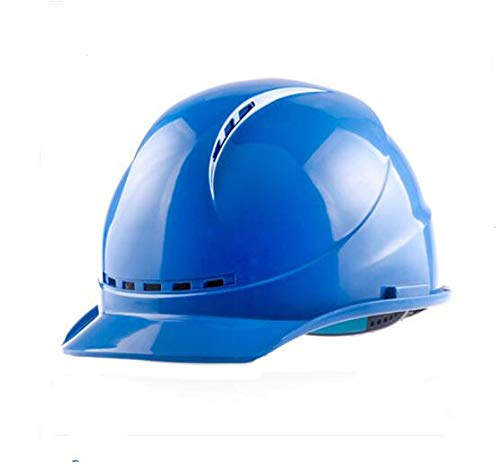 LIAN Schutzhelm-Baustelle-Elektriker-im Freienarbeits-ABS materieller atmungsaktiver Zusammenstoß-Sturzhelm (Color : Blue)