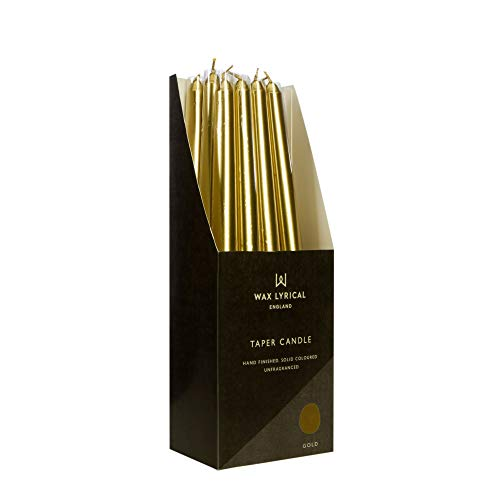 WAX LYRICAL Unscented 25 cm Tapered Dinner Candle Gold, Box of 12, 25cm