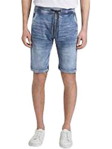TOM TAILOR Denim Herren Denim Jogger Shorts, 10142-Light Stone Blue Den, XL
