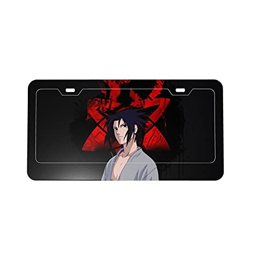 Naruto Anime Uchiha Sasuke Protection License Plate Car Frame Fashion Personality, Used for Women and Men Car Decoration DIY Custom Patterns