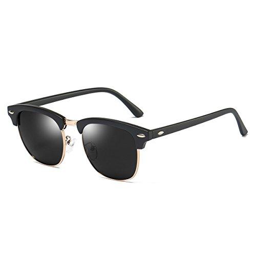 Rocf Rossini Gafas de Sol Mujer Polarizadas Medio Marco Classic Horn Rimmed Gafas para Hombres Vintage Conducción CAT.3 Protección UV400 (Mate Negro/Gris)