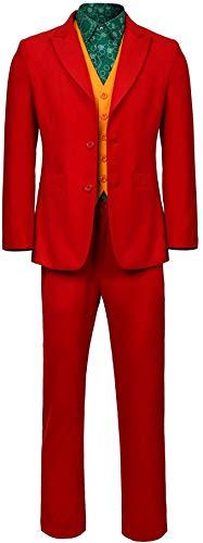 Traje de Joker Carnaval Traje de Cosplay Traje de Payaso Camisa Chaleco Abrigo Pantalones Traje Conjunto para Hombres Niños,XL