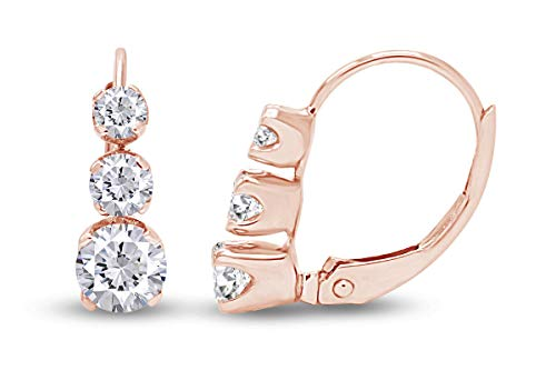 1/2ct TW Diamond Lever Back Earrings in 14K Rose Gold (0.50ct) (H-I Color, I1-I2 Clarity)