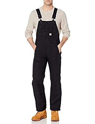 Carhartt Women's Quilt Lined Washed Duck Bib Overall, Black, Medium
