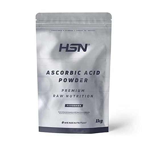 Vitamina C en Polvo (Ácido Ascórbico) de HSN | Antioxidante Natural, Antiinflamatorio, para Crear Colágeno | Vegano, Sin Gluten, Sin Lactosa, Libre OGM, Sin Sabor, 1000 gr